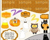 Funky Halloween Clipart and Graphic Set, Hallowen Clipart, Fall Clipart - Digital Scrapbooking Kit