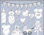 Baby Basics Digital Stamp - Black and White Clipart - Digital Scrapbooking, Baby Clipart