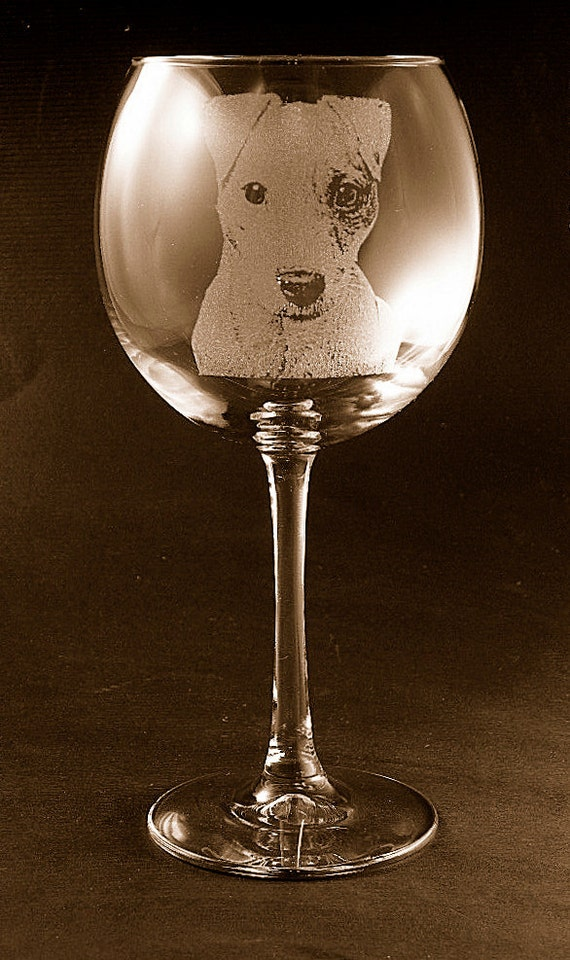 Etched Jack Russell Terrier on Elegant Wine Glass (set of 2)