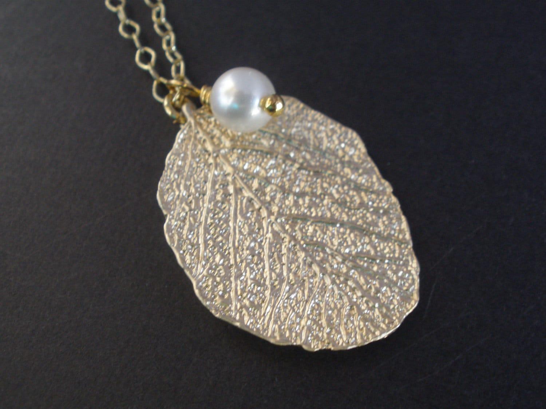 leaf necklace gold leaf pendant gold necklace real leaf