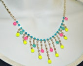 Hand Painted rhinestone necklace neon yellow hot pink light mint blue