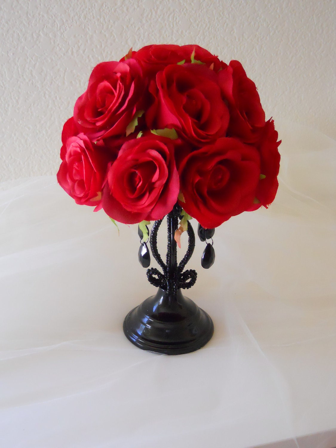 Gothic red and black wedding centerpiece reception