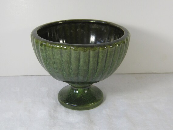 Vintage Haeger Planter Vase Dark Green Pedestal Bowl Shape