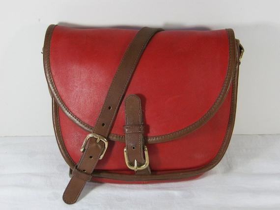 Vintage AUTHENTIC COACH Saddle Bag Red Leather USA Purse Unique Serial