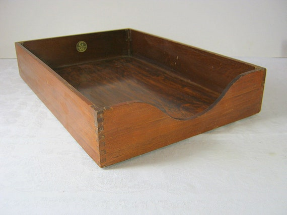 Vintage Wood Desk Tray Globe Wernicke MAD MEN Office Style In / Out Box