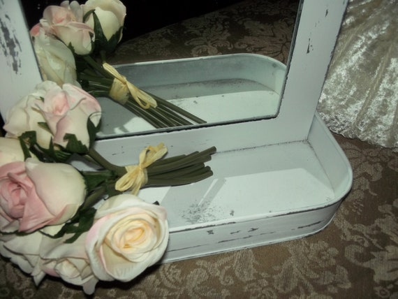 Vintage Tin wall mirror painted and distressed with flowers and a tray