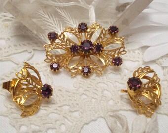 1 1/2 Amethyst Rhinestone Ornate Demi Parure Brooch Earrings