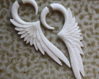CELESTE - Fake Gauge Earrings - Hand Carved White Bone Wings - Organic Tribal Jewelry