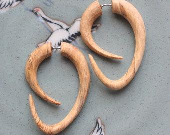 EBB Hoops - Tribal Fake Gauges - Hand Carved Tamarind Wood - Hook Style Earrings