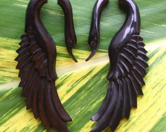 Fake Gauge Earrings - LATA Swan - Natural Black Horn - Hand Carved Jewelry