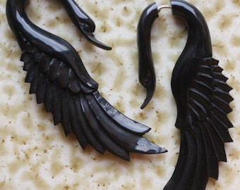LATA Swan - Natural Black Horn - Fake Gauge Earrings - Hand Carved Jewelry