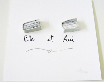 Book Art - Elle et Lui (Her & Him) - miniature books, white leather from upcycled Edwardian wedding gloves, black ink, grey, gray, love, 5x5