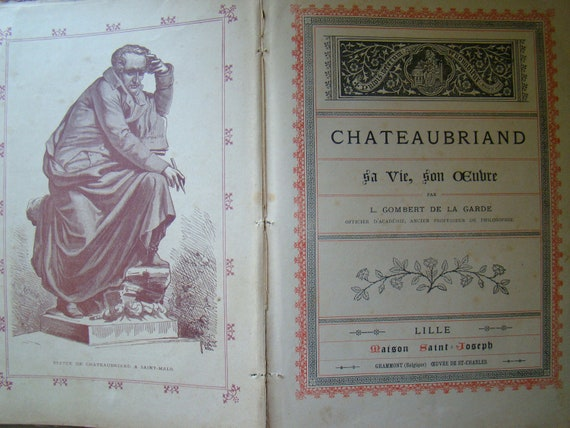 antique french book in blue, chateaubriand sa vie, son oeuvre