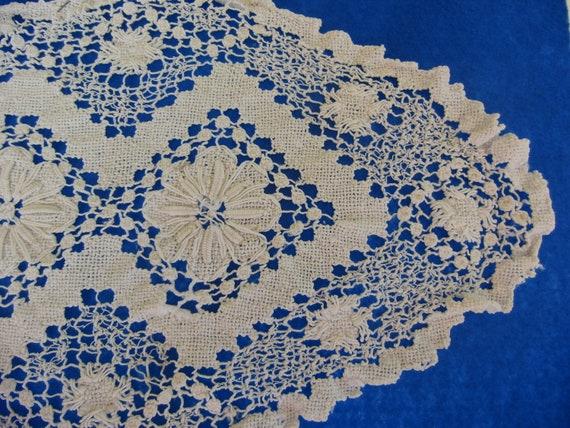 Oval Shabby Chic Vintage Crochet Doily