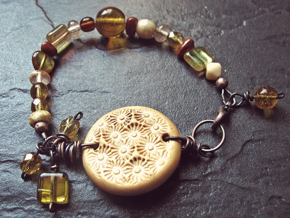 Handmade Copper,Polymer Clay & Czech Glass Bracelet