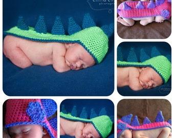 Custom Dino Hat Newborn Photo Prop Baby Boy Girl Crochet Dinosaur Dragon Lizard Beanie Lots of Colors Available