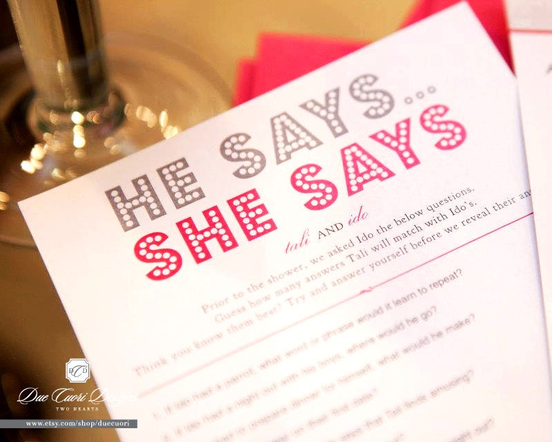 He says she says printable personalized bridal shower by duecuori