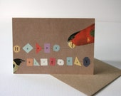 SALE - SEL - Parrot Happy Birthday Geometric Eco Friendly Art Greeting Card