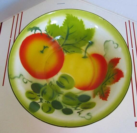 Vintage 1940s 1950s Enamelware Bowl Fruit Large 16 By Linbot1