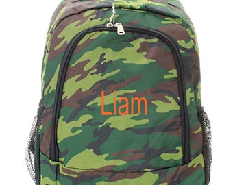 Monogrammed  Boys Camo Backpack  Monogrammed FREE Boys Booksack Green Camouflage