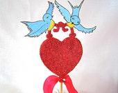 SALE - Heart Wedding Cake Topper - Vintage Style Red Glittered Heart, Bluebirds