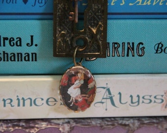 Alice in Wonderland Through the Secret Key Hole Book Geek Girl Necklace