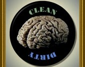 "Human Brain anatomy Dishwasher Clean/Dirty 2.25"" large Round  Magnet"