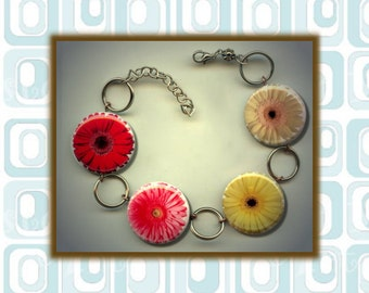 Gerber DAISY Daisies red pink yellow white Flower Altered Art Button Charm Bracelet with Rhinestone