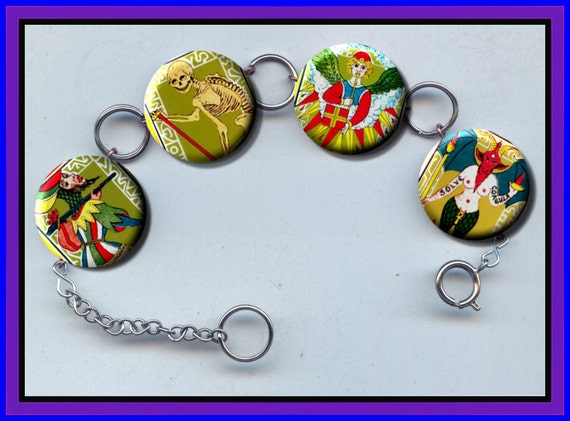 Tarot Cards vintage color images Altered Art Button Charm Bracelet with Rhinestone