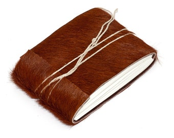 """Unique Leather Journal or Leather Sketchbook, Brown Hair on Hide, Pocket Sized, Handbound Coptic Stitch - 2 3/4"""" x 3 3/4"""""""