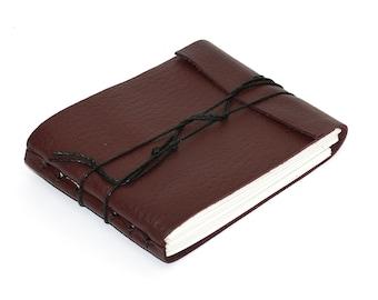"Leather Journal or Leather Sketchbook, Burgundy, Pocket Sized Notebook, Handbound Coptic Stitch - 2 3/4"" x 3 3/4"""