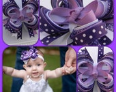 "Save 10% off by liking Chloe's Sweet Bowtique on Facebook...4"" Purple Lavender White Glitter Polka Dots Stacked Hair Bow"