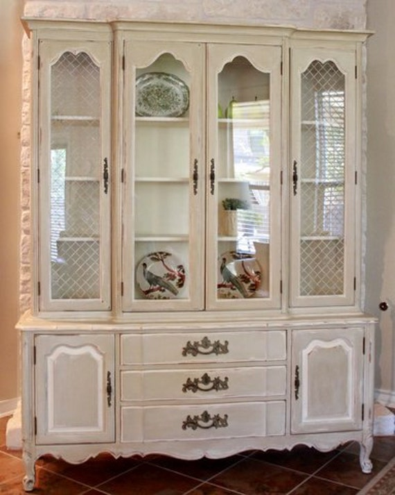 Vintage French Country China Cabinet RESERVED for Tamara