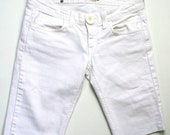 White denim shorts in size small medium, distressed jeans, lower waist jeans, ready to ship