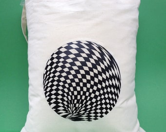 Tote Bag-Cotton Tote Bag-inkjet transfer print - Title- Optical Sphere- colour Calico-reproduced from an original hand drawing.