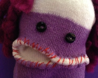 Sock monster-baby sock monster-geekery-princess teeny weenie-sock plush.