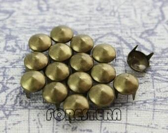 50Pcs 8mm Antique Brass CONE Studs Metal Studs (BC08)