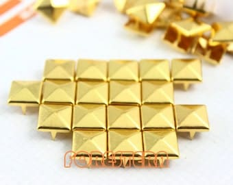 10mm Gold Pyramid Stud Punk Rock Leathercraft Stud (JP10)