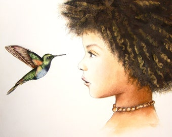 hummingbird, the visit  art print