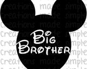 Mickey Mouse Inspired Big Brother Transfer