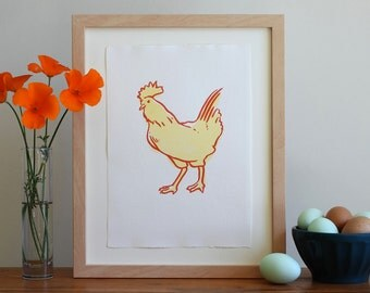 Chicken Letterpress Art Print