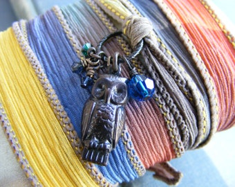 Owl of Sunset Silk Ribbon Wrap Bracelet:  Featuring Dark Brass Owl Charm Crystals and Gold Bronze and Grey Silk