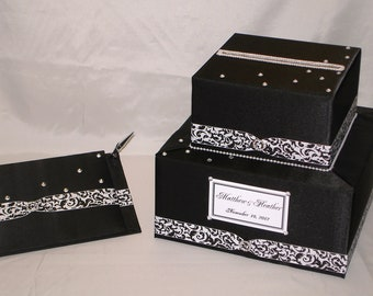 Black Wedding Card Box-Guest Book and Pen set-Damask Ribbon-any color combination