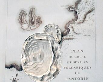 Santorini Map Necklace, Men Sterling Silver Pendant, 19th Century Santorini Greek Map, Unisex Necklace, Greek Jewelry, Santorini Souvenir
