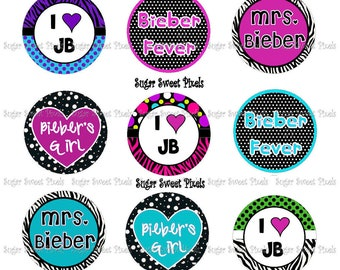 Instant Download Bieber Sayings 1 inch circle Bottlecap Images 4x6 sheet