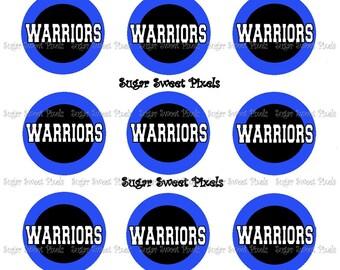 INSTANT DOWNLOAD Blue Black Warriors 2 color   School Mascot 1 inch Circle Bottlecap Images 4x6 sheet