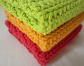 Red Orange and Lime Dishcloths / Washcloths