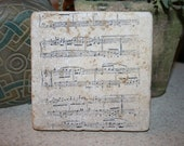 Personalized Tile Coasters, Sheet Music Piano, Set of 4