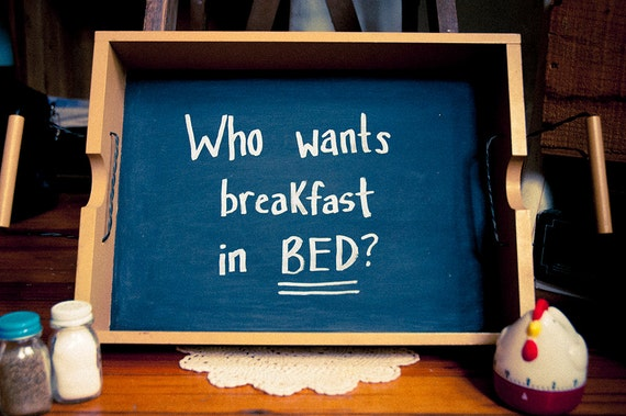 Repurposed Yellow Chalkboard Tray - Breakfast in Bed - Front Page of Etsy