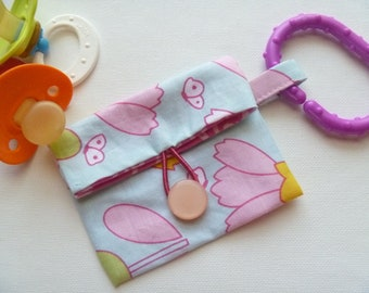 Pretty Flowers Fold Over Pacifier Pouch